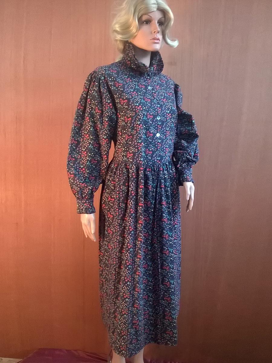 Vintage 1980s Laura Ashley Dress. Edwardian Governess. Black Floral