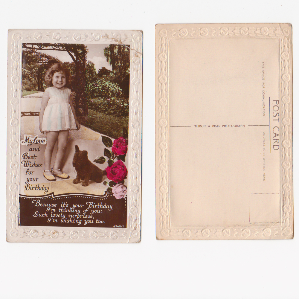 Vintage greetings vintage birthday cards vintage christmas cards a vintage 1930s unused birthday card real photo postcard for sale image of girl puppy with embossed floral border kristyandbryce Choice Image