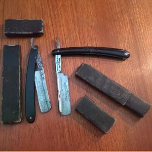 2 x vintage cut throat razors for sale